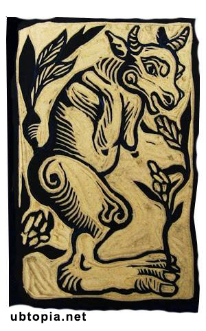 woodcut footprints idol