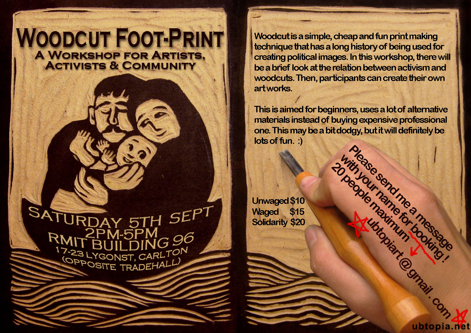woodcut workshop poster