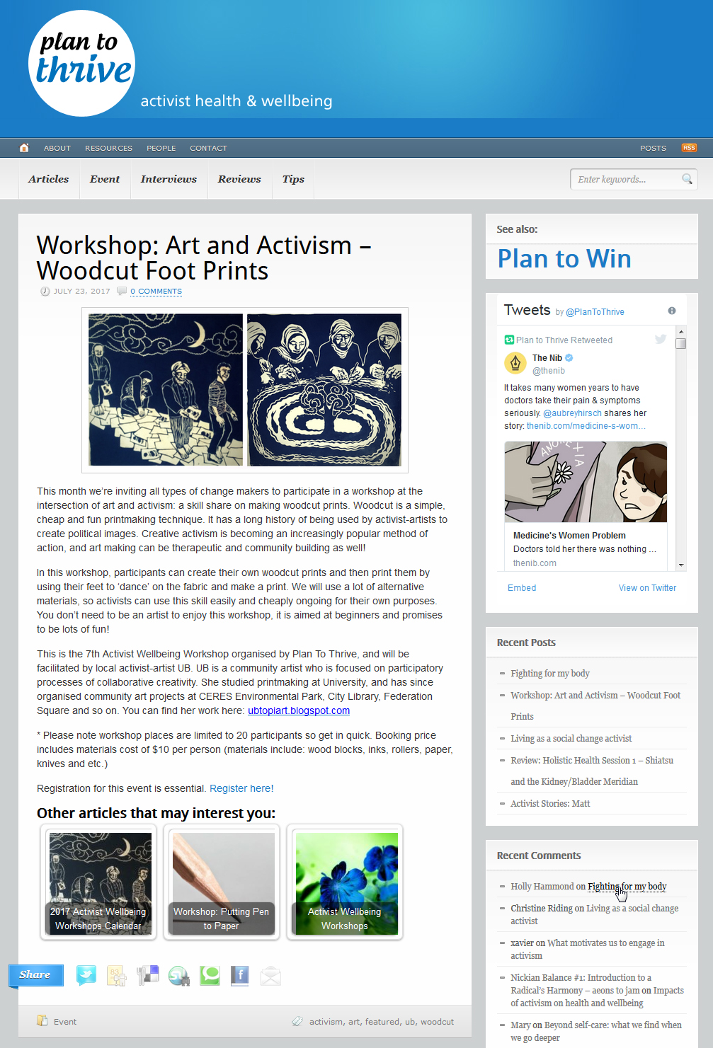 Plan To Thrive-Workshop: Art And Activism-Woodcut Foot Prints