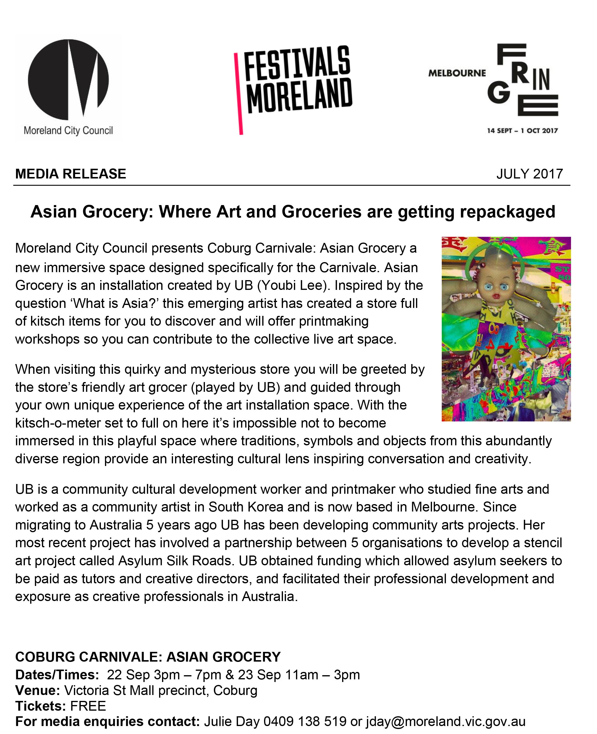 AG  Coburg Carnivale 2017 – Fringe Media Release Asian Grocery Uu