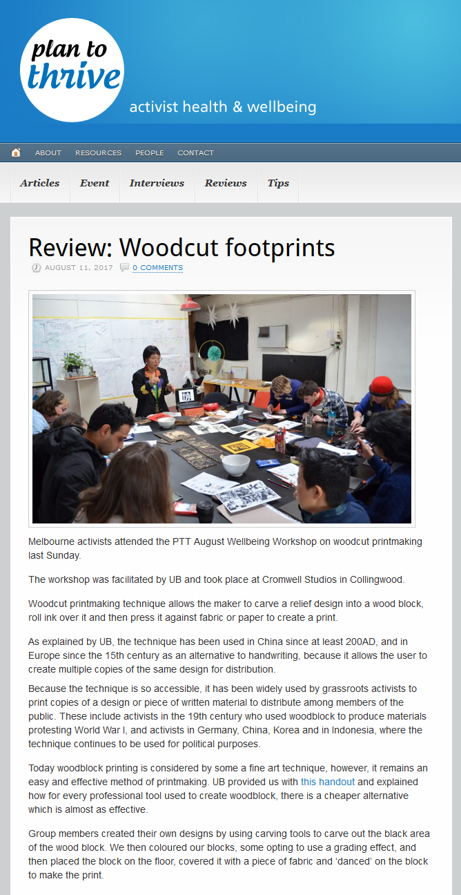 Plan To Thrive-Workshop: Art And Activism-Woodcut Foot Prints (Review)