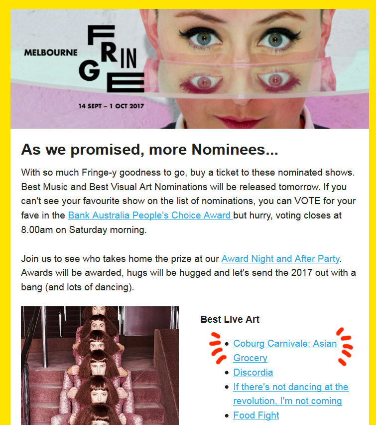 Nominated As One Of The 4 X Best Live Art Works In Melbourne Fringe Festival